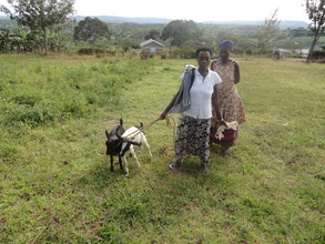 Prossy with her two goats