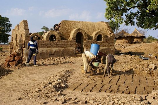 Making mud bricks
