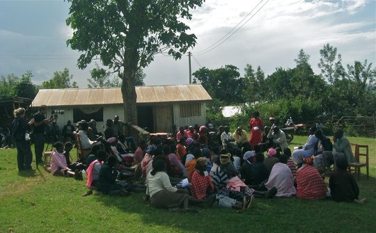 Parents listening to updates from Kakenya
