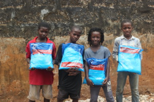 A grateful family receiving bed nets