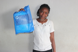 Hawa with her new bed net