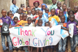 Students expressing their gratitude for the nets