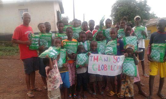 Happy mosquito net beneficiaries