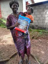 Mother and daughter with net