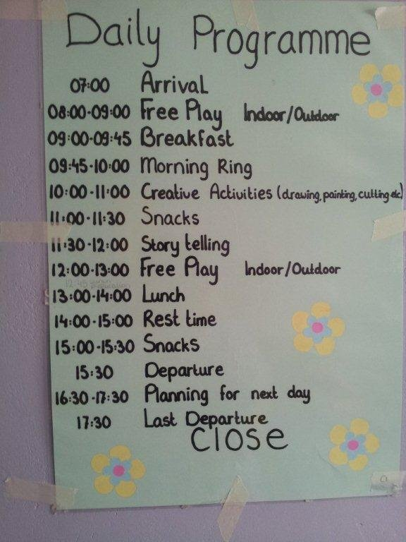 A daily programme displayed on the wall