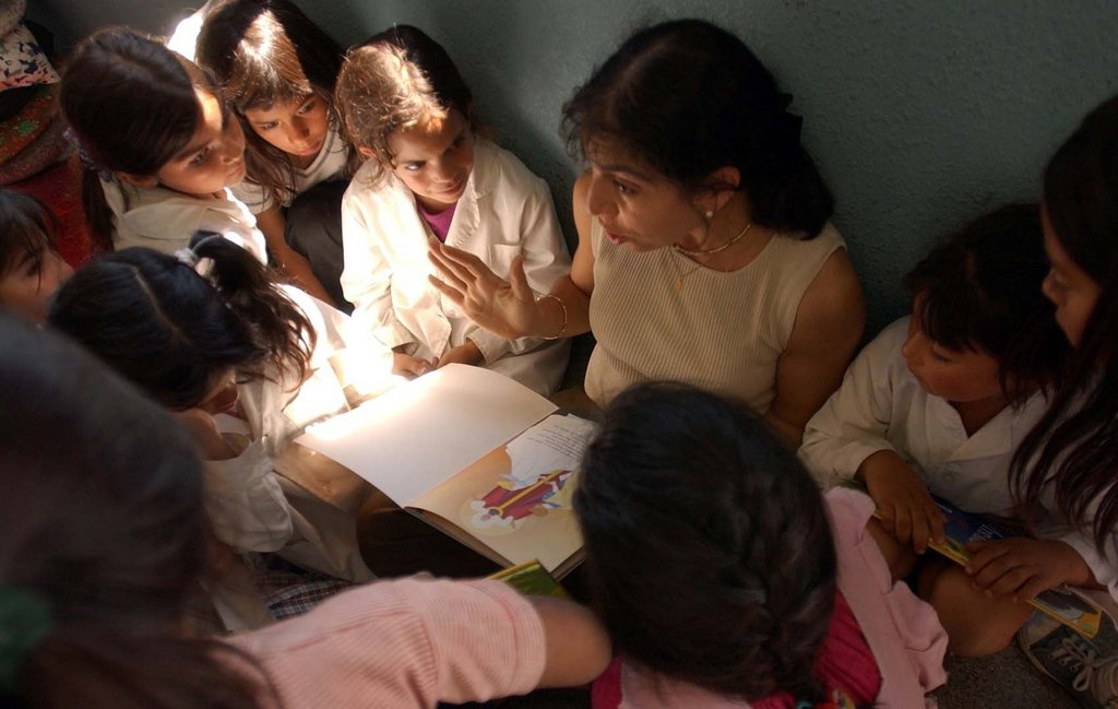 children listening to a story