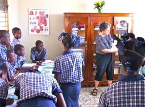 LVC graduate student, Ms. Lingle, working in Haiti