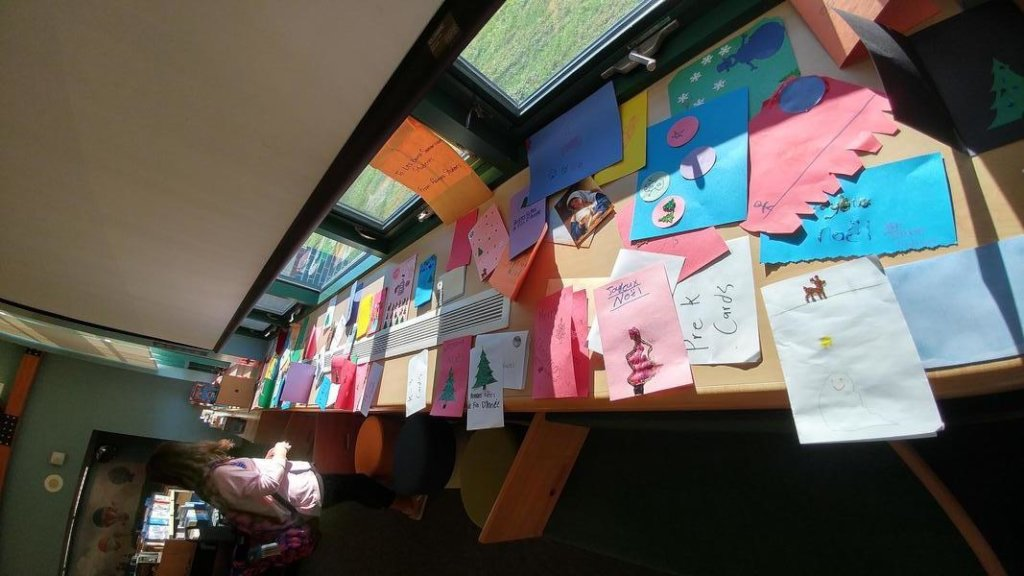 Some of the many cards Palmyra students created