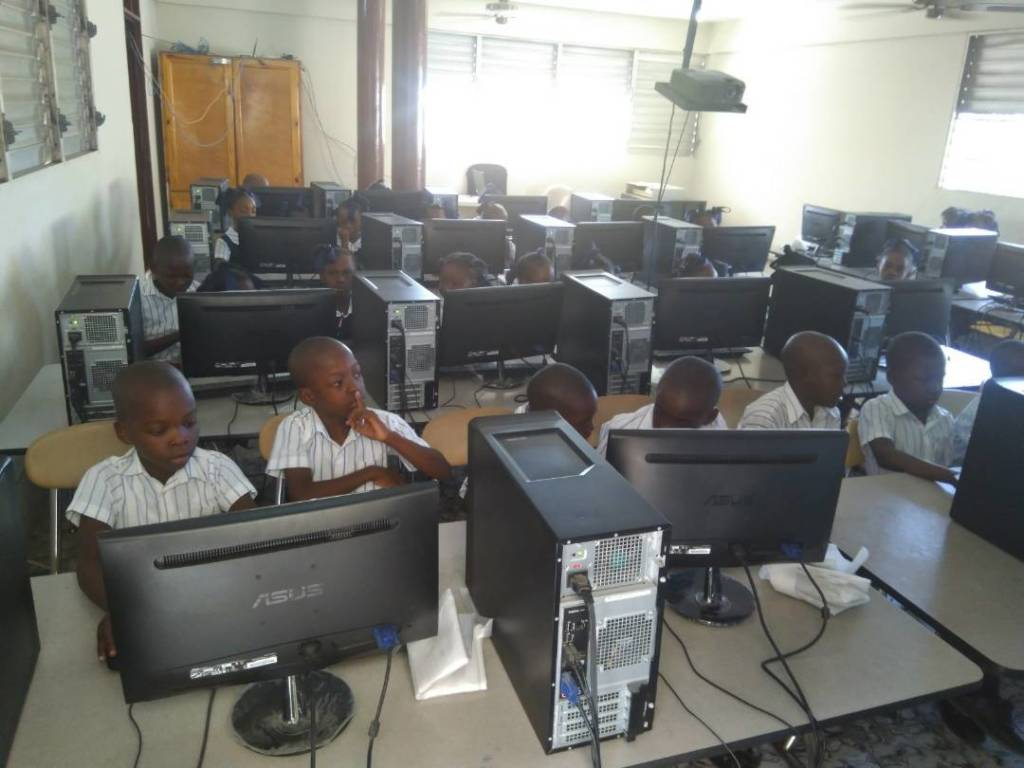 Students engaged in technology from your support