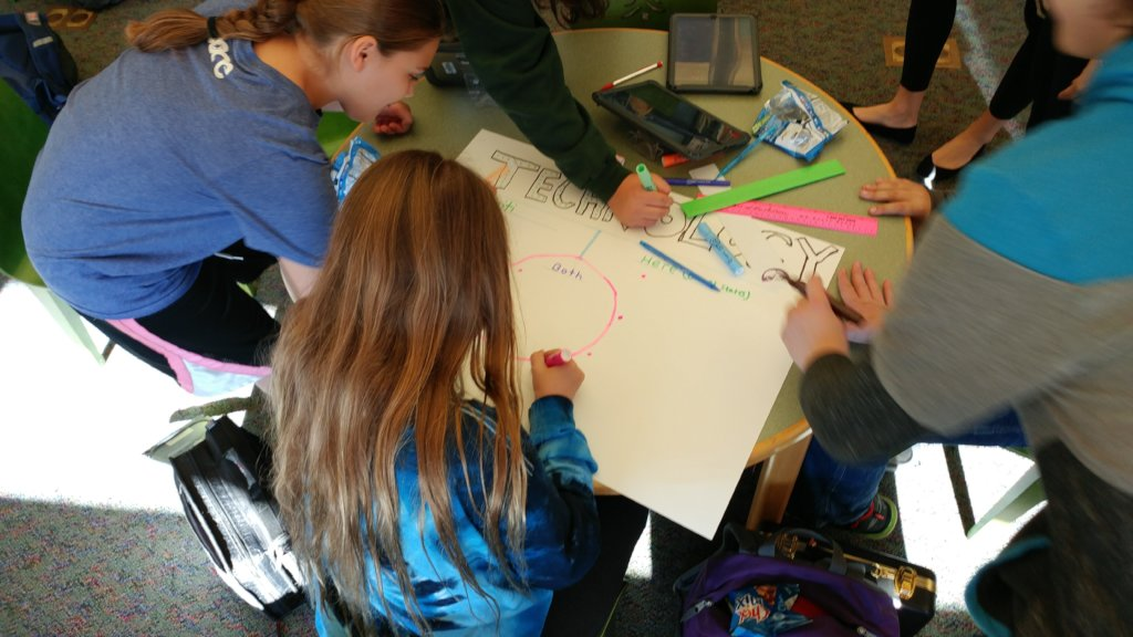 A Haitian technology poster being created