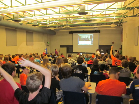 Palmyra students enjoying the Skype with Haiti