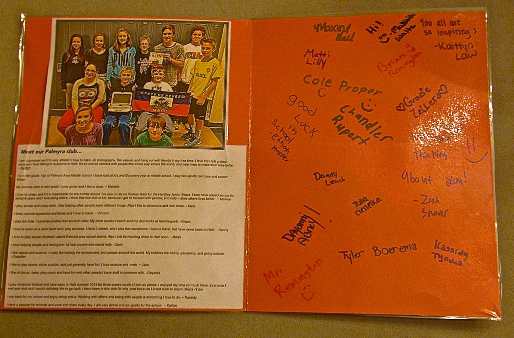 Inside of the card we will take to Haiti
