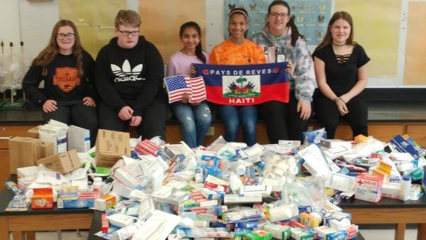 Some medical supplies we collected for Haiti