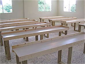 Constructed computer tables at James Stine College