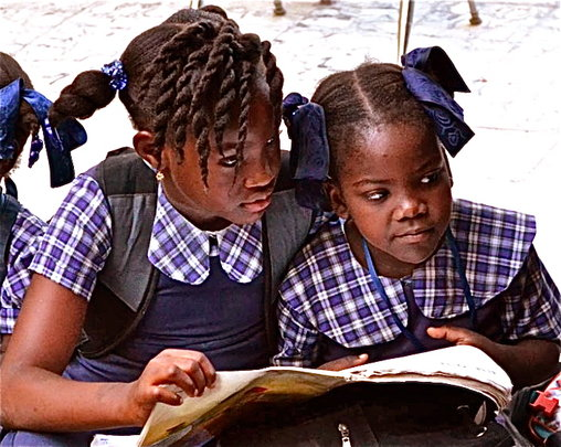 Studying in the warm Haiti winter