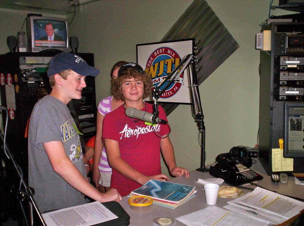 Sam at a radio promotion for our project