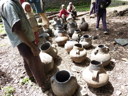 some of the clay pots ready to be buried