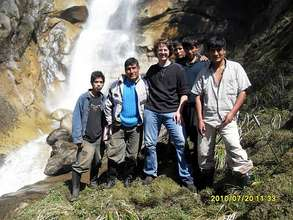 Patricio, Eusebio and others at a waterfall nearby