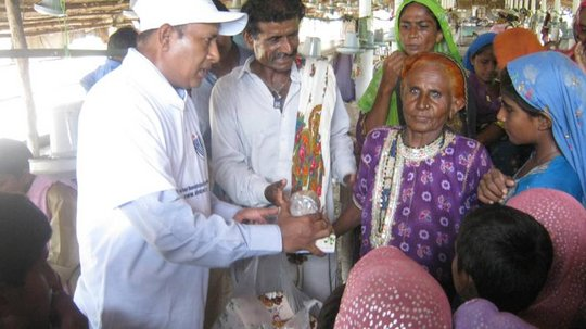 Old women happy to recieve the EID gift