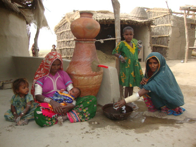 A family with new born baby access to safe water