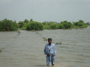 AHD staff shwoing area of flooded by rain