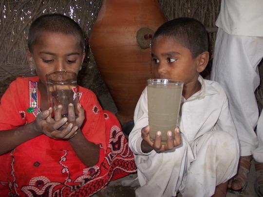 Children drinking Nadi filtered water