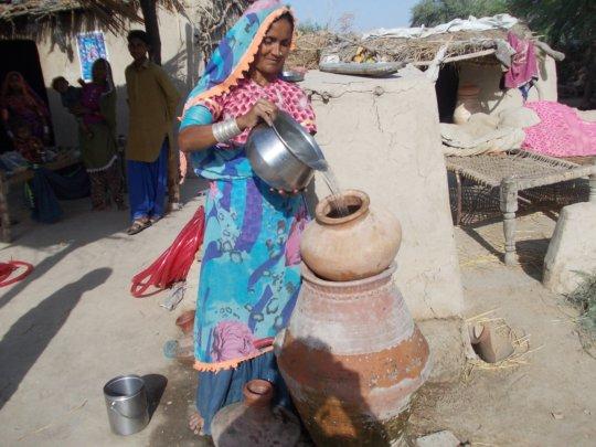 Women happy to filter water
