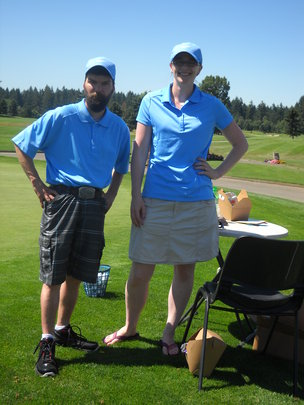 Clients and staff help at the tournament.