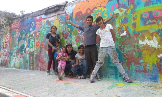 Young artists, happy with their work