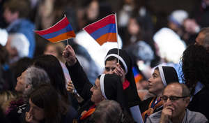 Armenian Flags at the Pope's Address