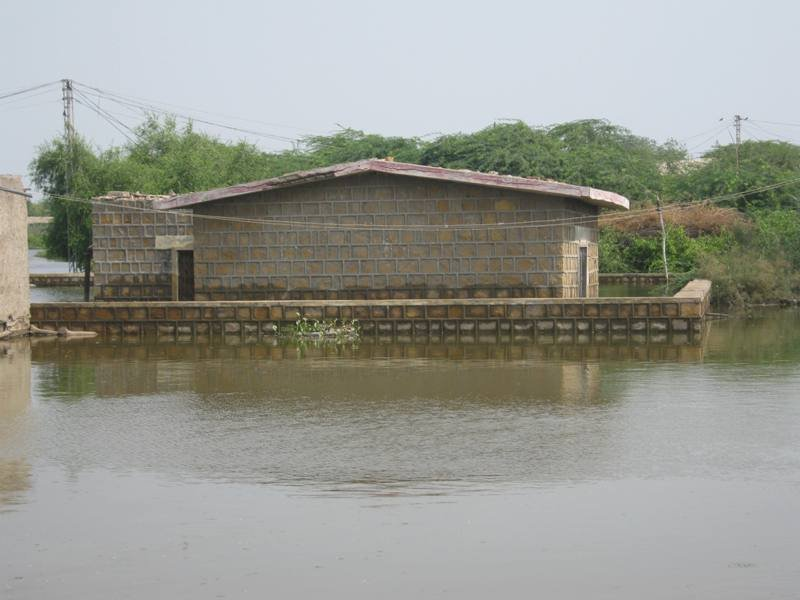 Road side school completely under flood water