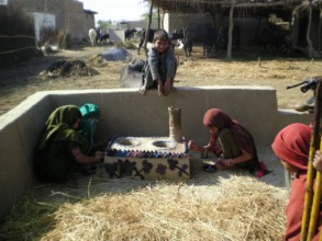 Girls busy to color their Cooking stove