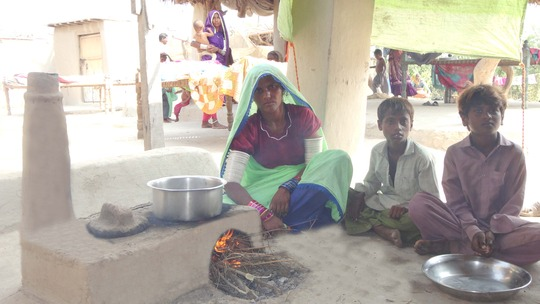 Mrs.Anita Devi using Cooking Stove near Matli