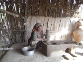 Women happy preparing new cooking stove