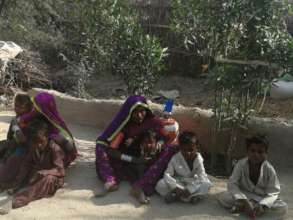 Women planed tree at her house ground floor
