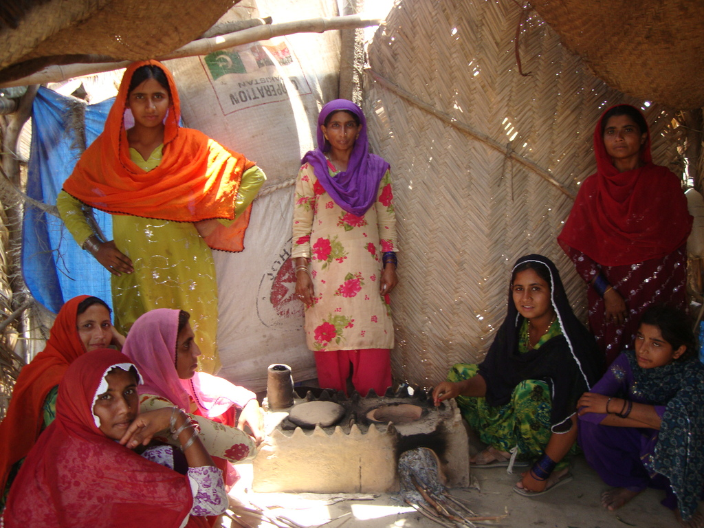 Women using new constructed cooking stove