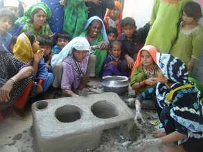 Women completing stove