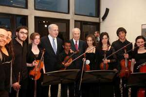 Abraham the Violin Player with Israeli President