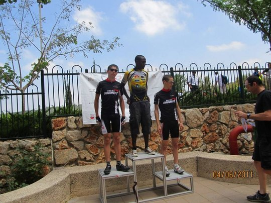 Negus winning 1st place in a cycling competition