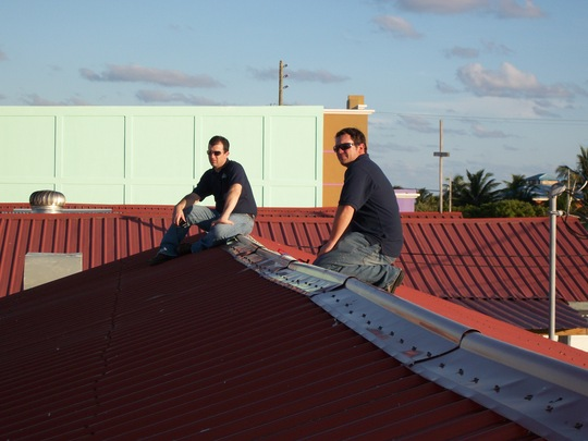 Baker engineers on the roof