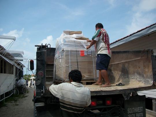 pallet of solar equipment arriving at HCAS