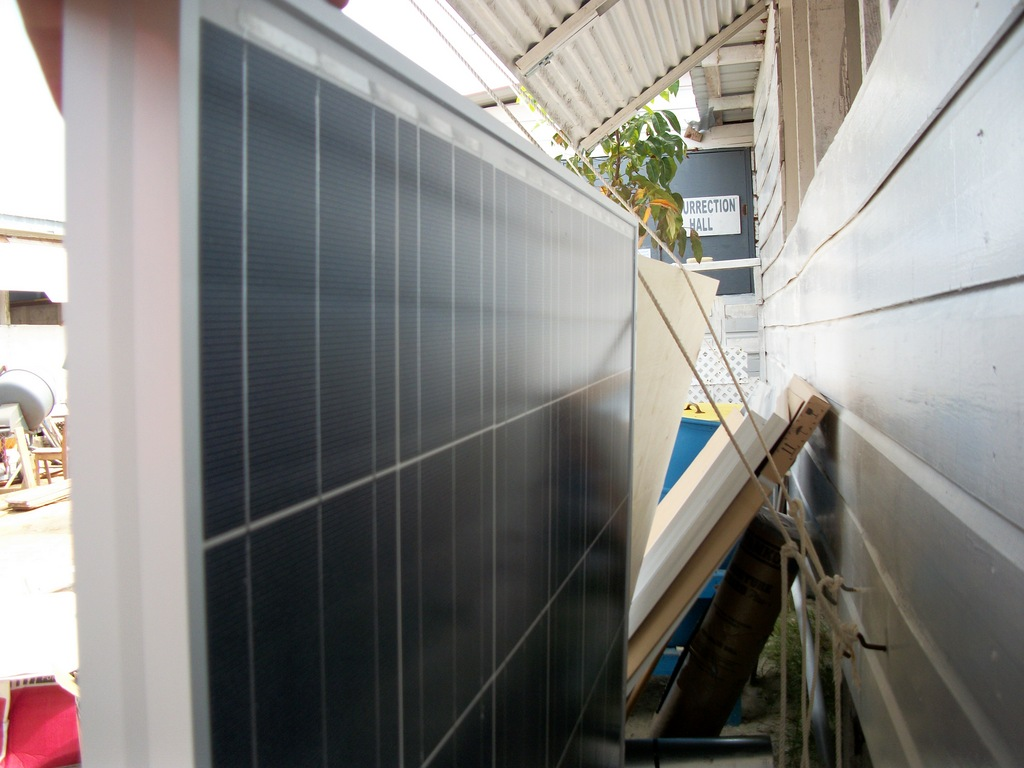 moving solar panels into safe storage