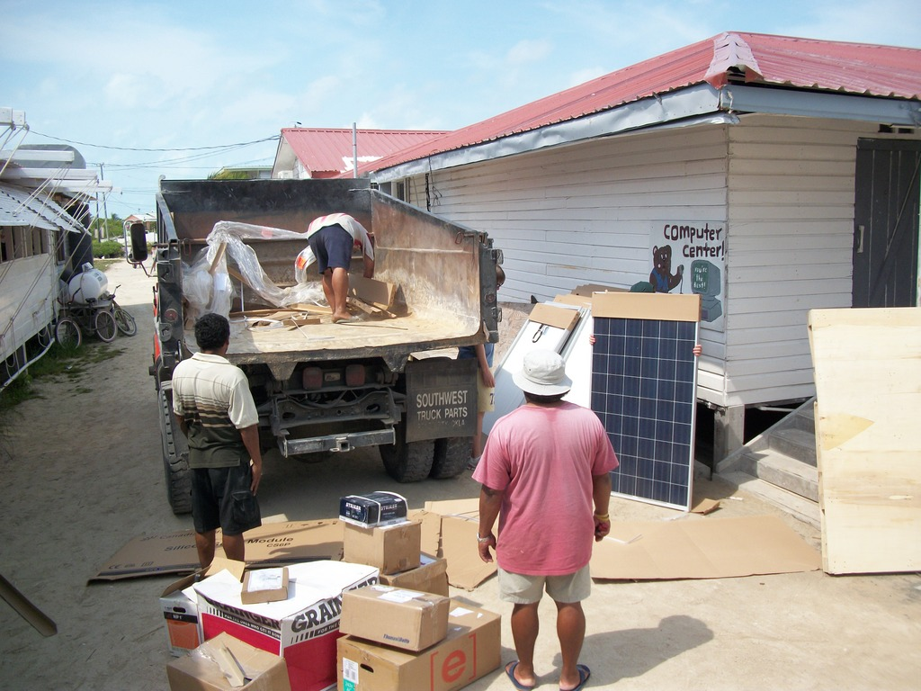 Continued unloading of solar equipment