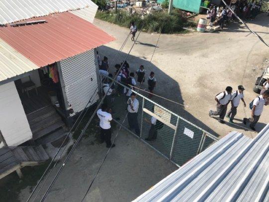 Looking downward on school walkways from roof