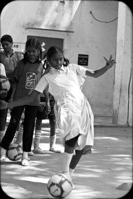 Young girls developing Life Skills thru Football