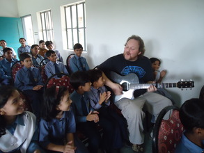 Todd performing for kids in Mirpurkhas, Sindh