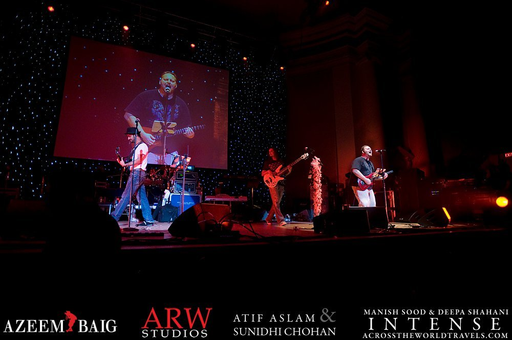 Todd singing with Atif and his band