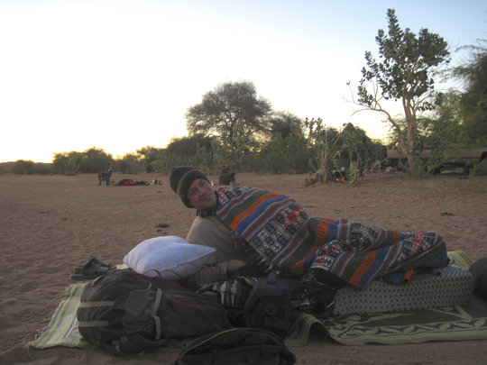 No Club Med: Brian hits the sack desert style.