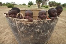 Boys play in the well mold