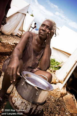 Josanie LaFortune with her Rocket cookstove
